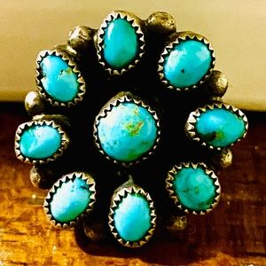 Navajo Signed Turquoise Cluster Sterling .925 Ring